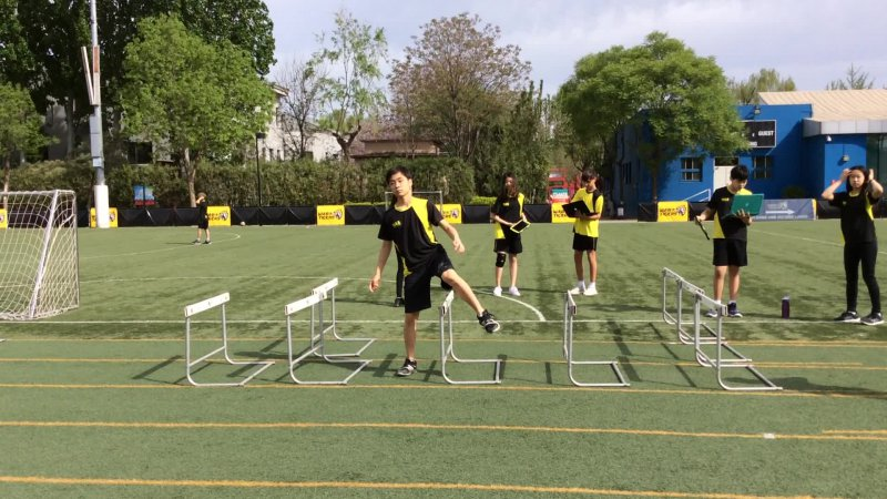 Side Step Over Hurdles With High Knees